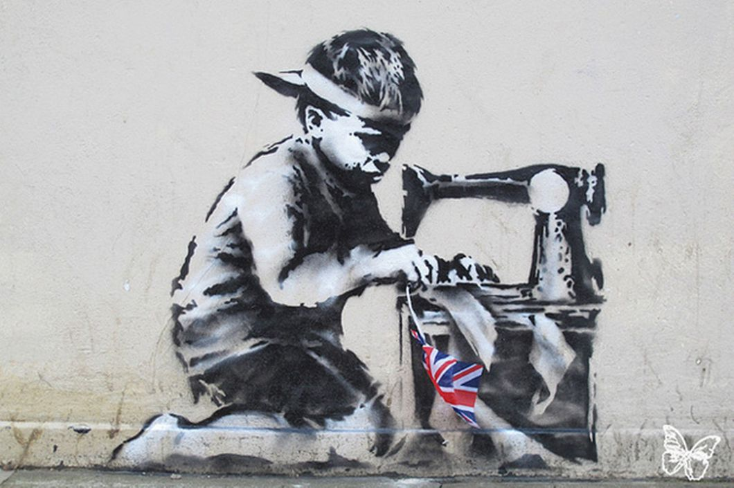 Latest work believe to be by mysterious graffiti artist Banksy .-835622.It is in Turnpike Lane London